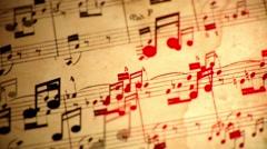 Music notes flowing loop Stock Footage