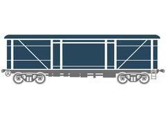 Covered Railway freight car - Vector illustration - stock illustration