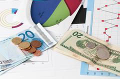 Euro against the dollar Stock Photos