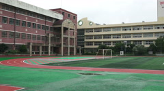 Empty Urban School Yard And Track Seoul South Korea - stock footage