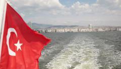 Turkish flag waving on ferry. Izmir -Turkey Stock Footage