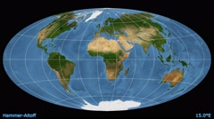 Animated world map in the Hammer-Aitoff projection. Blue Marble raster. Stock Footage