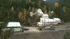 Silver lead zinc mine site, pan Stock Footage