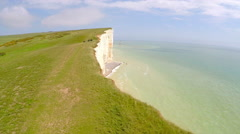 Beautiful aerial shot of the White Cliffs of Dover at Beachy Head, England. - stock footage