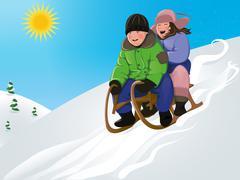 Funny kids sledding Piirros
