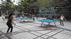 Shenzhen, China: people are playing table tennis Stock Footage