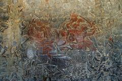 Stock Photo of Langka battle, carved  bas relief from Ramayana
