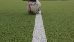 Player dribbles ball white line on the stadium Stock Footage