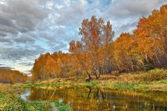 mellow autumn on river bank - stock photo