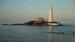 St. Mary's Lighthouse, Whitley Bay Stock Footage