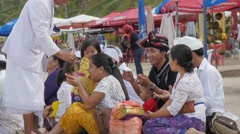 Balinese hindu ceremony on the beach,Kuta,Bali,Indonesia Stock Footage
