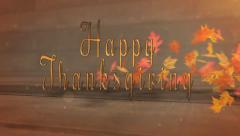 Happy Thanksgiving Rustic Sideways Blowing Leaves Reveal - stock footage
