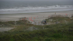 Stock Video Footage of SUV Truck Driving on Sandy Beach in St. Augustine Florida Slow Motion