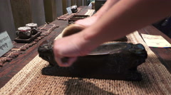 Grinding Herbs To Powder With Old Tools Stock Footage