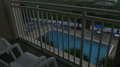Stock Video Footage of Storm at Resort on Beach with Rain Falling Fast in St. Augustine Florida