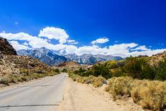 street at the Alabama Hills, Sierra Nevada - stock photo
