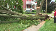 Severe thunderstorm damage after tornado warned storm Stock Footage