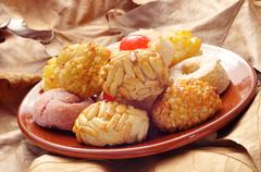 panellets, typical pastries of Catalonia, Spain, eaten in All Saints Day - stock photo