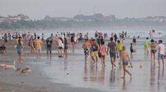 Busy activity on beach,Kuta,Bali,Indonesia Stock Footage