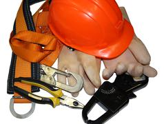 tools and safety equipment for industrial electrician - stock photo