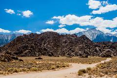 Alabama Hills rock formation, Sierra Nevada - stock photo
