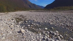 AERIAL: Flying over river bed in the swiss mountains, Vallemaggia Stock Footage