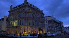 Grand and stately hotels line the main road at the British seaside resort of Stock Footage