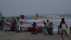 Hare Krishna procession on the beach,Kuta,Bali,Indonesia Stock Footage