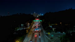 Stock Video Footage of Downtown Los Angeles and 110 South Freeway Night Timelapse
