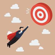 Businessman Super Hero Fly to Big Target Stock Illustration