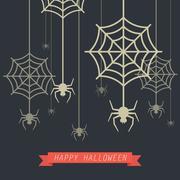 Happy Halloween Spider with Cobweb Stock Illustration