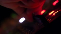 4k Music studio audio mixer, Dark night light changing atmosphere. Stock Footage