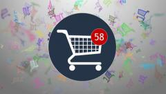 Shopping, shopping in the online store. Many shopping. hopping cart icon - stock footage