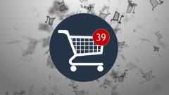 Shopping, shopping in the online store. Many shopping. hopping cart icon Stock Footage