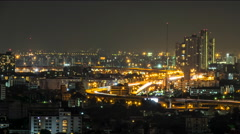 Night Expressways and Cityscape Stock Footage