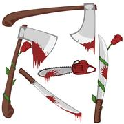 Bloody set of weapons - stock illustration