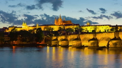 Prague and Vltava river at a spring night - stock footage