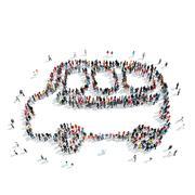 People  shape  school bus Stock Illustration