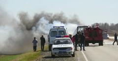 4K Ambulance Police and Firefighter Cars Against Exploded Bus - stock footage