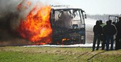4K Stock Footage Accident on the Highway Burning Bus Stock Footage