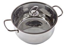 New stainless steel pan with a transparent glass cover. - stock photo