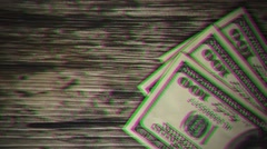 three hundred dollars banknotes on the wooden table. The effect of old films - stock footage
