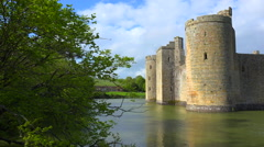 The beautiful Bodiam castle in England with large moat. Stock Footage