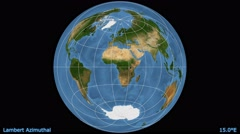 Animated world map in the Lambert Azimuthal projection. Blue Marble raster. Stock Footage