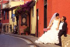 groom and bride in the city - stock photo