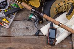fishing tackles and fishing gear - stock photo