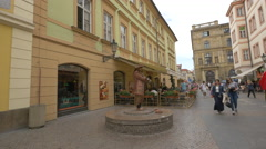 Living statue in the old town of Prague Stock Footage