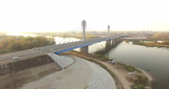 Road Bridge Across The River Samara Stock Footage