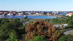 Pan left. View of Swedish coastal city of Karlskrona  Stock Footage