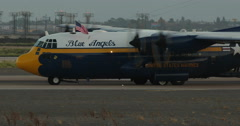MCAS Miramar Blue Angels Fat Albert C130 Hercules Taxiis on a Blown T Stock Footage